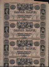 Twenty Dollar Sheet of Four Uncut Canal Bank Currency Notes New Orleans - $299.00