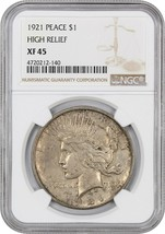 1921 Peace $1 NGC XF45 - Scarce First Year Issue - Peace Silver Dollar - $160.05