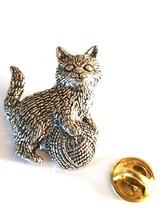 english pewter cat, kitten with ball of wool Design pin badge, lapel badge