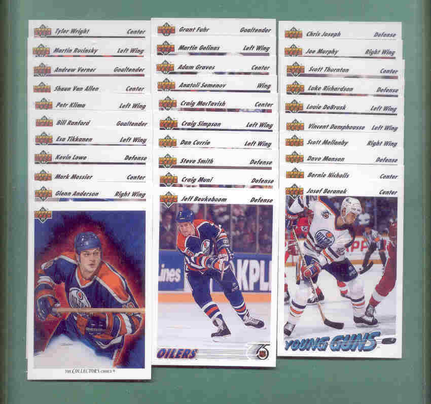 1991/92 Upper Deck Edmonton Oilers Hockey Team Set