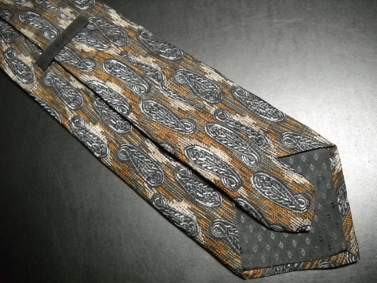 Status Quo Neck Tie Silk Browns with Paisley Design
