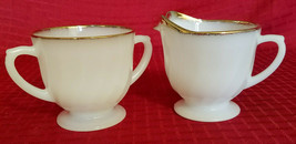 Vintage Fire King Oven Ware Golden Anniversary Creamer And Sugar - $13.50