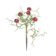 Christmas Pick With Bells Glitter, Red/Green, 8 Inches - $12.73