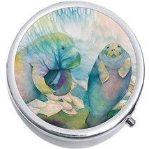 Watercolor Manatees Medicine Vitamin Compact Pill Box - $9.78