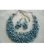 Suzanne Somers Necklace Earrings Sterling Simulated Turquoise Blue Cryst... - $29.99