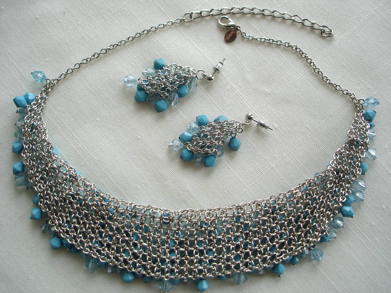 Suzanne Somers Necklace Earrings Sterling Simulated Turquoise Blue Crystals