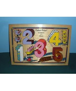 Vintage Fisher Price #2715 Numbers Pick Up 'N Peek Wooden Puzzle NEAR MINT! - $24.99