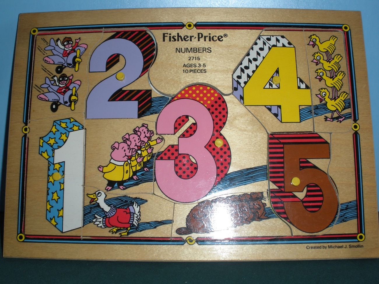 Vintage Fisher Price #2715 Numbers Pick Up 'N Peek Wooden Puzzle NEAR MINT!