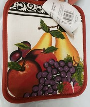 "Set of 2 Printed JUMBO Pot Holders, 7"" x 8"", FRUITS ON WHITE, w/ red bac... - $8.90"