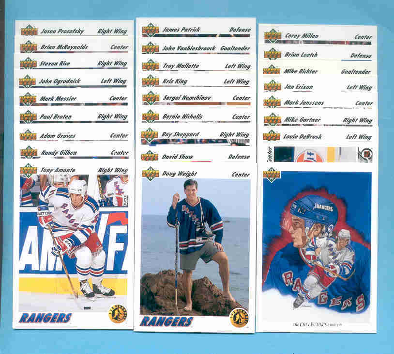 1991/92 Upper Deck New York Rangers Hockey Team Set