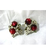 Vintage CORO Cranberry Red Moonglow Earrings - $8.99