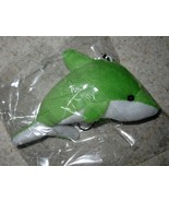 KEY CHAIN GREEN & WHITE STUFFED WHALE #519 - $4.99