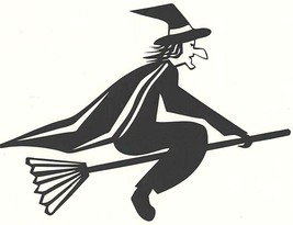 black decal vinyl flying witch car, boat, house decal stickers
