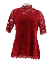 Isaac Mizrahi Stretch Lace Mock Neck Top Red Currant L NEW A344417 - $34.63