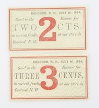 1864 Two Three Cent Fractional Currency UNC Concord New Hampshire Mercha... - $113.85