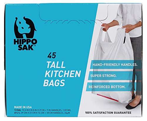 Primary image for Hippo Sak Tall Kitchen Bags with Handles, 13 Gallon, 45 Count