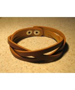 BRACELET UNISEX CHOCOLATE BROWN LEATHER WEAVE A... - $10.99