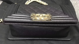 NEW 100% AUTHENTIC CHANEL 2017 BLACK QUILTED CAVIAR SMALL BOY FLAP BAG GHW image 5
