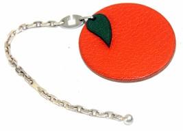 Authentic Hermes Orange Leather Key Silver Tone Chain Bag Charm Fruit Design - $187.11