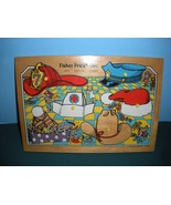 Vintage Fisher Price Pick Up 'N Peek #2721 Hats Wooden Puzzle Near Mint! - $24.99