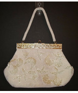 Vintage Beaded Evening Bag Bugle Beads Seed Pearls Filigree Frame Kiss S... - $34.99