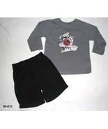 Grey Boys Long Sleeve Shirt Black Shorts Sz 24 Mo. - $11.00