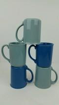 (5) Vtg Corning Ceramic Blue Coffee Cups Mugs Light Blue Dark Blue Repla... - $27.69