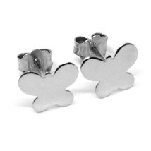 SOLID 18K WHITE GOLD EARRINGS FLAT BUTTERFLY, SHINY, SMOOTH, 8x10 MM image 1