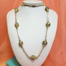 Vintage Art Nouveau Venetian Glass Wedding Cake Bead Necklace Bar Link - $79.97