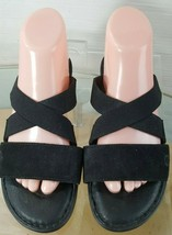 Born  Women's Slide Sandals Flats Black Size 8 Leather and Fabric - $24.74