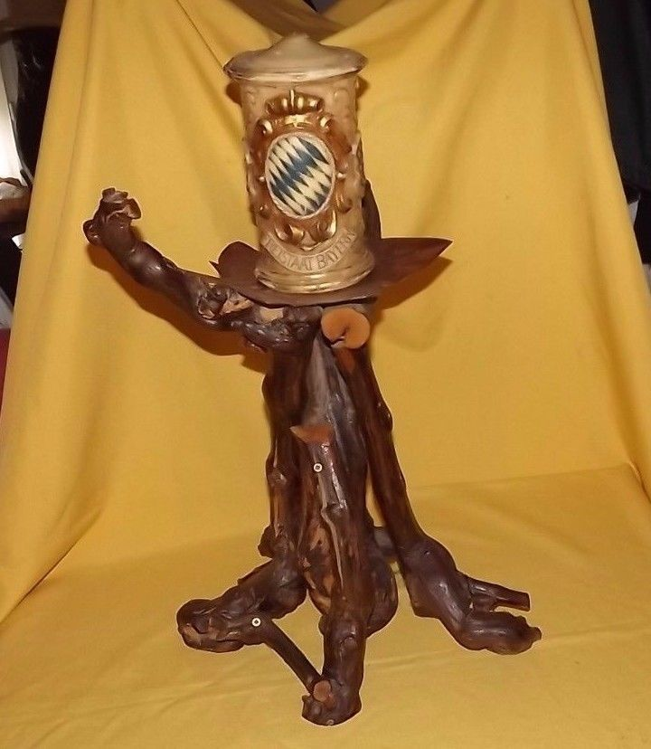 Primary image for Vintage black forest Bavaria candle holder Bayern Shields wood stand wine stock