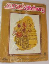 """Beginning Stitchery Kit Antique Tins Sunset Designs 1978 Vintage 14"""" x 18"""" - $19.79"""