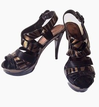 Anne Michelle Envy Heels Size 8.5 Black Gold Strapped Caged Open Toe - $16.89