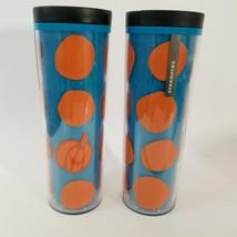 Starbucks Coffee Cup Tumbler Matte Plastic Pumpkin Blue Orange Grande 2016 of 2 - $30.47