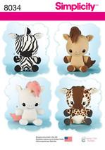 "Simplicity 8034 Stuffed 16"" Animals Unicorn, Horse, Zebra, Giraffe   New... - $10.00"