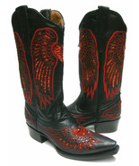 Womens Cowboy Boots Heart Wing Black Leather Inlay Red Sequins Snip Toe ... - $96.03