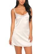 ADOME Women's Satin Nightgown Sexy Lingerie Lace Chemises Slip Sleepwear... - $16.67
