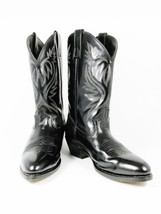 LAREDO Men's Western Cowboy Black Leather Boots Lea Vamp Fox Front Shaft... - $59.39