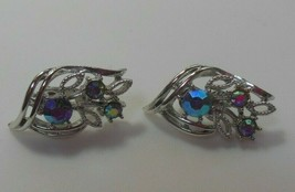 Vintage Signed Coro Silver-tone AB Rhinestone Floral Clip-on Earrings - $27.71
