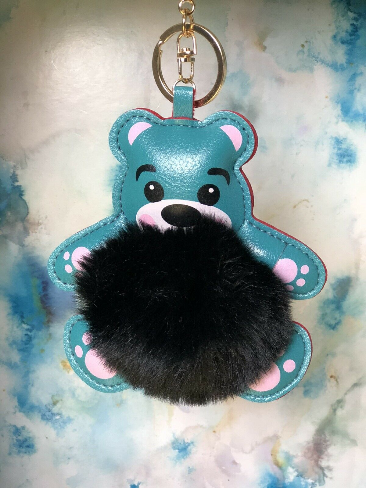 Primary image for Fuzzy Fluffy Bear Faux Fur And PU leather Bag Charm Keychain Accessory