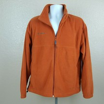 Columbia Mens Fleece Jacket Size L Orange Full Zip Pockets - $24.74