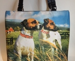 Puppy Dogs Rhinestone Collars Purse Tote Fabric Handbag Lined Shoulder Bag