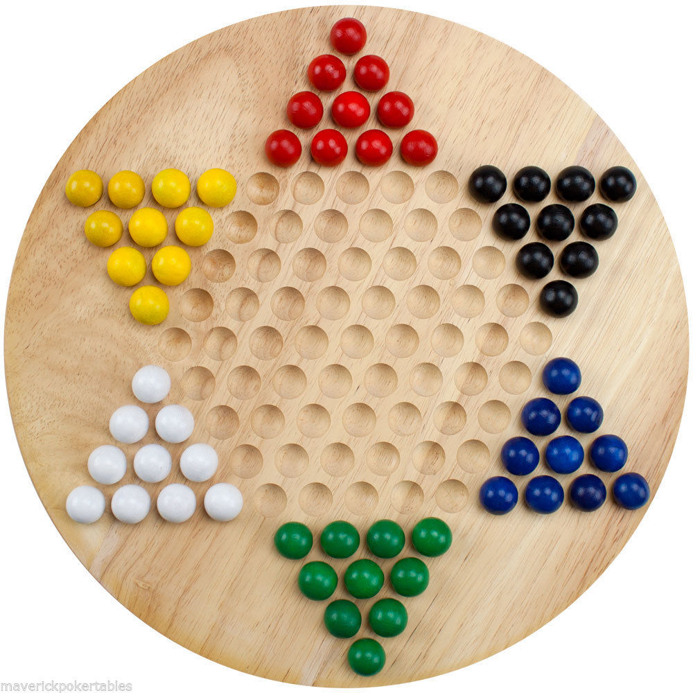 Primary image for All Natural Wood Chinese Checkers with 6 Colors Wooden Marbles - Brand New Game