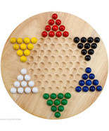 All Natural Wood Chinese Checkers with 6 Colors Wooden Marbles - Brand N... - £10.79 GBP
