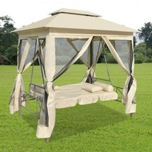 Outdoor Gazebo Swing Chair Cream White Patio Hanging Bed Benches Pillows... - $283.00