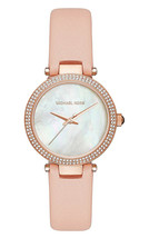 Women's Mini Parker Pink Leather Strap Mother of Pearl Dial Watch MK2590 - $123.40