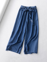 Light Blue Denim Crop PALAZZO PANTS TROUSERS Women Blue Loose Wide Leg Pants  image 13