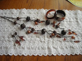 Vintage BOHO Baubles & Beads Necklace Earrings Bracelets Amber Rust Copper - $35.00