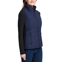 NEW Andrew Marc Women's Marine Blue Quilted Insulated Zip Up Vest image 2