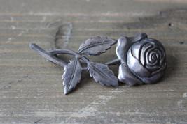 Vintage Sterling Silver Rose Flower Brooch Size: 5.5cm x 2.1cm - $39.59